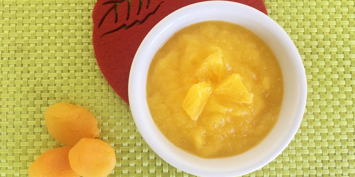 Papinha de damasco, laranja e maçã