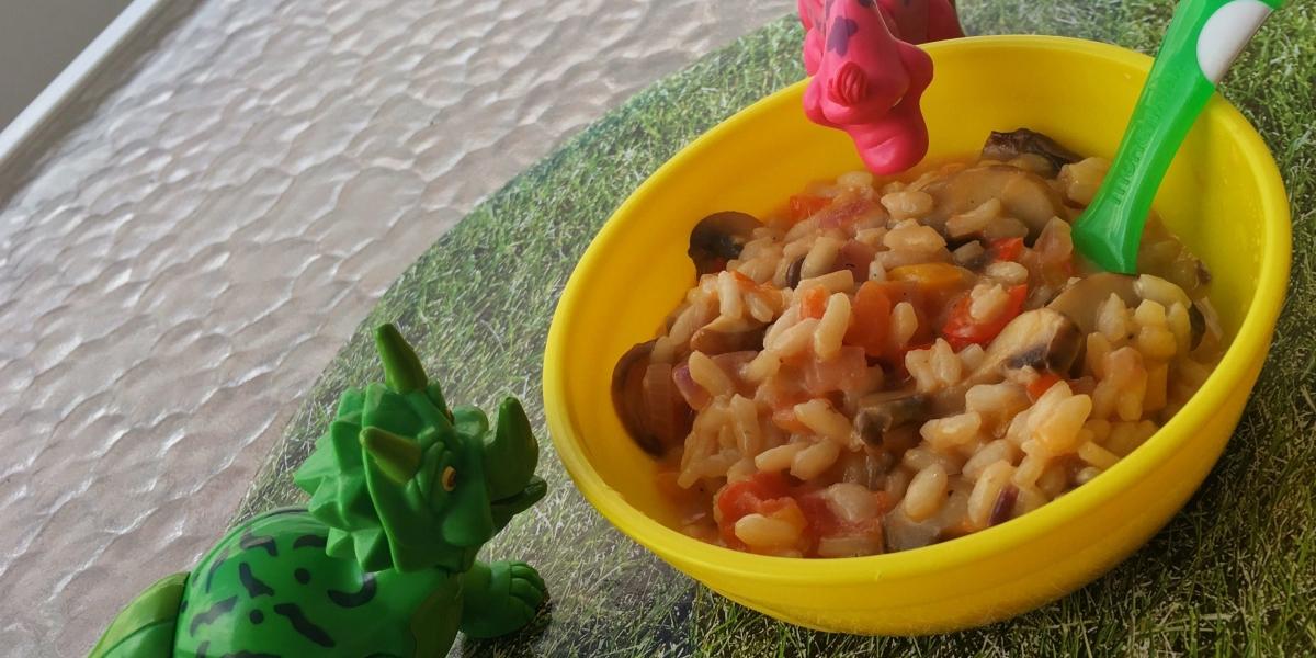 Risoto de pimentões coloridos e cogumelos