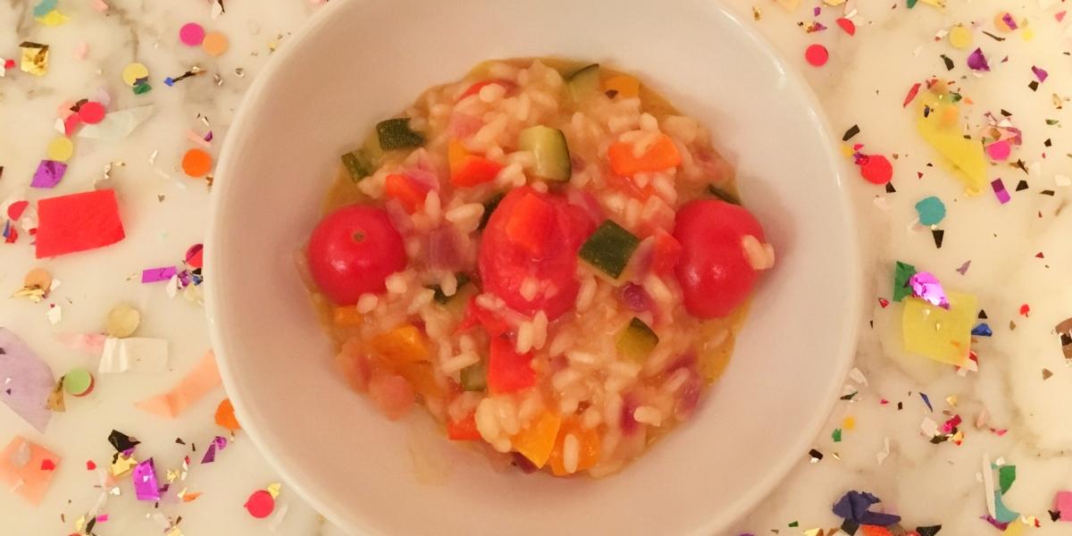 Risoto de laranja com vegetais